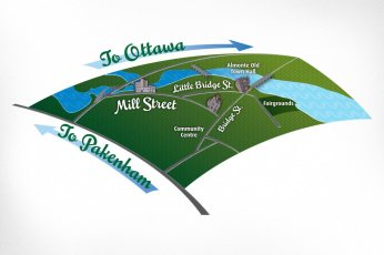 Map of Almonte: The Town of Mississippi Mills (Almonte) commissioned an illustrated map of downtown Almonte for their Mainstreet Almonte Attraction and Promotion (MAAP) initiative. Client requested stylized illustrations of notable local architecture. An engaging, lively map illustration was developed with a fresh, cool colour palette and agreeable textures and typography.