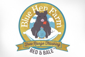 A local family farm that doubles as a bed and breakfast approached me for a logo. It was important to the owner that her livestock be featured in the brand, yet still get across the notion of a comfortable B&B. Piggies and chickens it is, then. I don't know that I've ever had a client more happy with her logo!