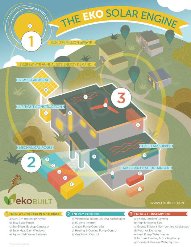 Ottawa Illustration – Passive House Infographic, Community, Trees, Chipmunk