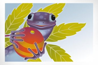 Sally the Salamander: A fun illustration produced for a holiday self-promotion several years ago, this illustration depicts one of our brand personalities, the salamander, only brought even more to life with big puppy dog eyes, a smile, and appealingly holding a Christmas tree decoration.