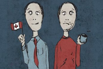 Doppelgänger: Originally developed as a cover option for the May/June issue of Policy Options magazine, the illustration was created to represent the polarization of wealth in Canada by referencing the doppelgängers found in Charles Dickens' A Tale of Two Cities. The client loved the illustration and decided to have it in its own right within the article pages.