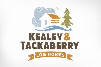 Ottawa Logo Design – Kealey & Tackaberry Log Home Builders, Log House, Clouds, River, Tree, Bird, Banner