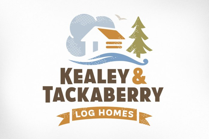 Ottawa Logo Design – Kealey & Tackaberry Log Home Builders, Log House, Clouds, River, Tree, Bird, Banner