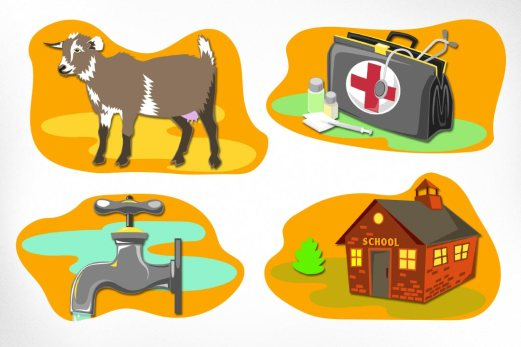"Free The Children – Adopt A Village: Adopt A Village was created by Free The Children to combat child labour globally. Posters were designed with cheerful cutout illustrations to convey a simple ""math"" concept: 1$ will buy $10 worth of medical supplies, $50 will buy a family a dairy goat, etc."