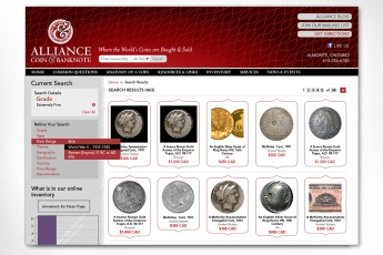 Alliance Coin & Banknote – Search Results Page: This site is based on an ever-changing inventory, and contains the means to conduct very targeted searches on rare coins and notes, and to show these on an engaging and clear search result page. To see the full site please go to www.alliancecoin.com.