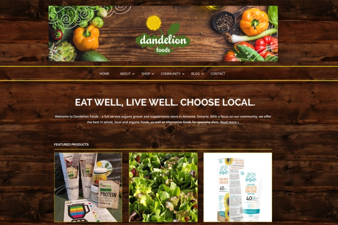 Almonte Web Design – Dandelion Foods Health Food Store Site