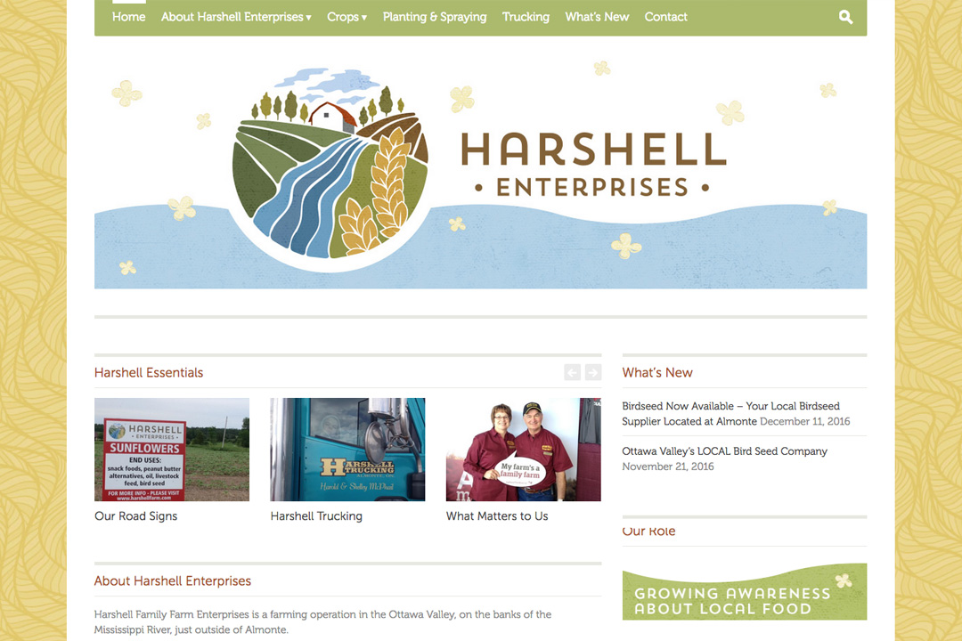 Almonte Web Design – Harshell Family Farm Site