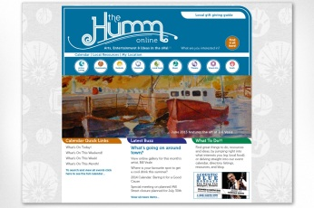 The Humm Online: Another fully custom site built for our local community monthly newspaper specializing in arts, entertainment and ideas. The site design needed to convey a vast and complex amount of content in the most direct way possible, including online advertising. A specialized grid was created, along with a navigation system to help viewers easily find what they are looking for. To see the full site please go to www.thehumm.com.