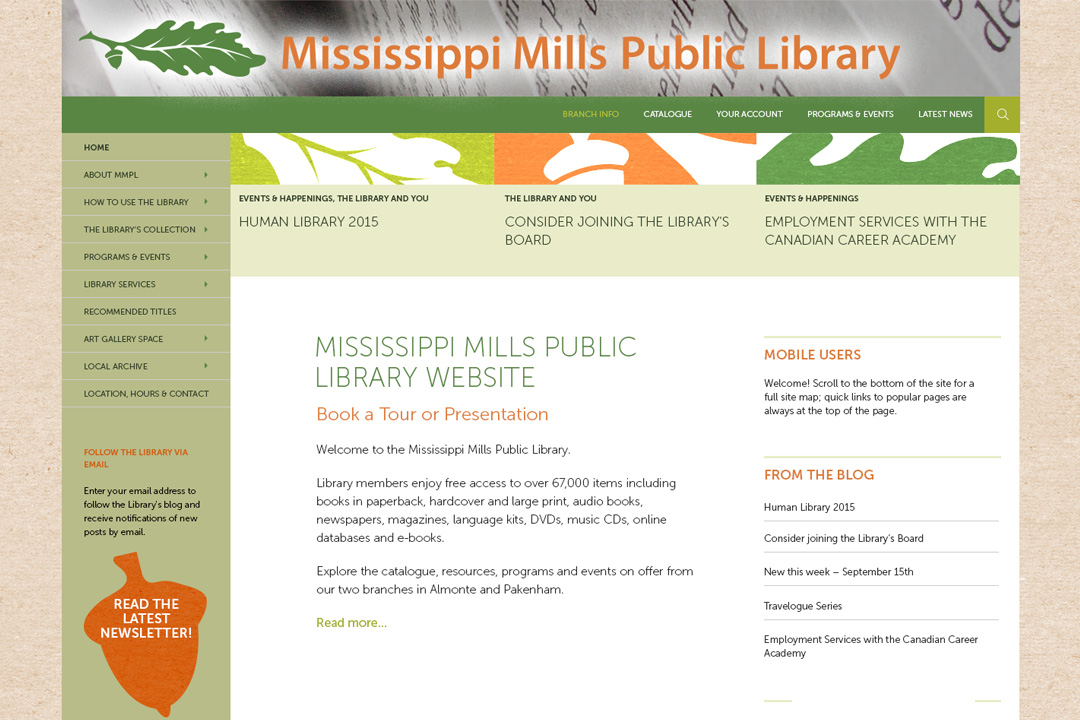 Almonte Web Design Mississippi Mills Library Site