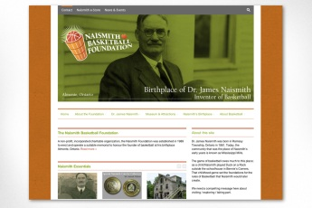 This website, built for a local not-for-profit organization, is another good example of a highly customized site that is still based on a purchased Wordpress theme, with a design based on branding developed by Sumack Loft and featuring a large photo of James Naismith, inventor of basketball. The site successfully displays a great quantity of diverse information with careful organization and typographical hierarchy. Logo was also designed at Sumack Loft. To see the full site please go to www.naismithbasketballfoundation.com.