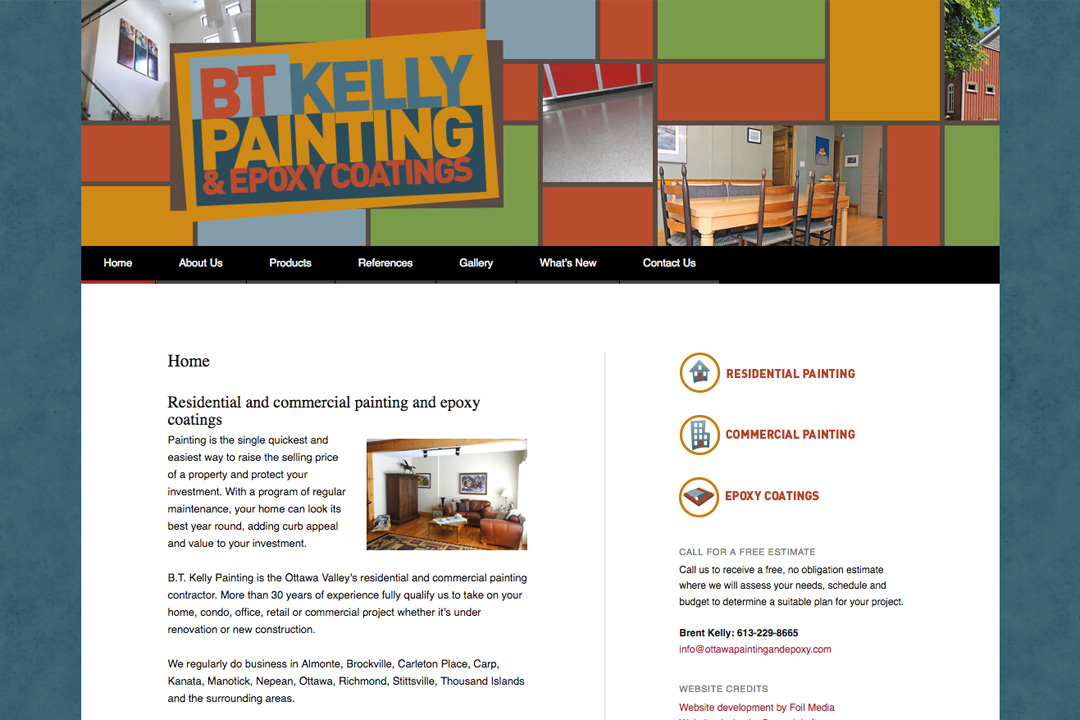 Ottawa Web Design – BT Kelly Painting & Epoxy Site