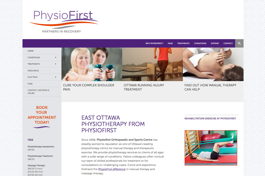 Ottawa Web Design –PhysioFirst Physiotherapy Site