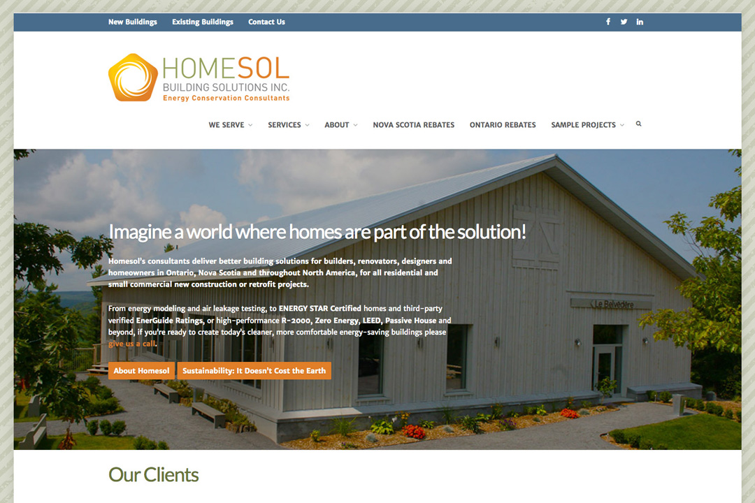Ontario Web Design – Homesol Energy Conservation Consultants Site