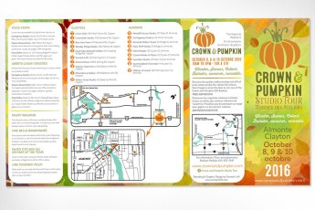 New promotional brochure designed for the 20th anniversary of the Crown & Pumpkin Studio Tour. Great care was taken by our committee to ensure that all information was in the most appropriate spot for ease of reading and so that people could conveniently find what they were looking for – both in the brochure itself, and while navigating the tour. Logo and tagline also developed by Sumack Loft.