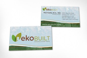 Business cards designed for custom homebuilders. Design is based on look and feel developed for website with pleasing clarity and good legibility. Logo was also designed at Sumack Loft.