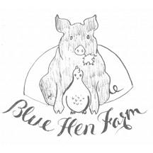 Brand development sketch for Blue Hen Farm's new logo