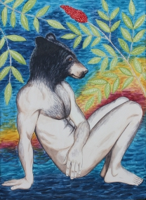 "Bear Naked: 2016 22"" x 30"" graphite and watercolour"