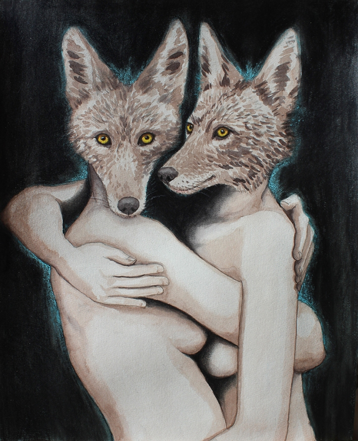 "Coygirls: (sold - prints available) 2017 16"" x 20"" graphite/watercolour/charcoal/pastel"