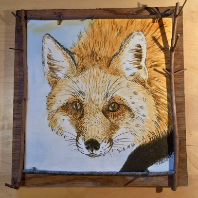 "On The Prowl: (sold - prints available) 2017 11.5"" x 11.5"" (not including board) graphite & watercolour, mounted on barnboard, framed with maple sapling"