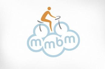 Mississippi Mills Logo Design – Bicycle Month, Person Riding Bicycle Floating in Clouds
