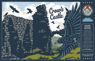 """Crooked Mile Brewing Company Craft Beer Labels: Crow's Castle. Art direction, design, and illustration for a microbrewery in Almonte, Ontario. Crooked Mile commissioned me to create illustrations for each of their flagship beers based on vistas the owners fell in love with during a walking tour in the UK. Crow's Castle is a Welsh Best Bitter featuring the """"Dinas Bran"""", or Crow's Castle, sitting atop a tall hill in Wales, with the requisite murder of crows wheeling and soaring all around."""