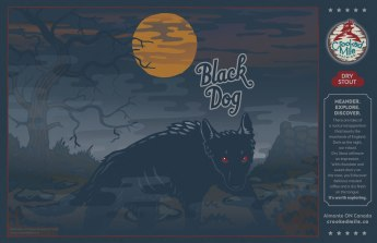 Crooked Mile Brewing Company Craft Beer Labels: Black Dog. Art direction, design, and illustration for a microbrewery in Almonte, Ontario. Crooked Mile commissioned me to create illustrations for each of their flagship beers based on vistas the owners fell in love with during a walking tour in the UK. Black Dog is a Dry Stout and shows a mysterious dog appearing out of the mists and fog of the dark eerie moorside.