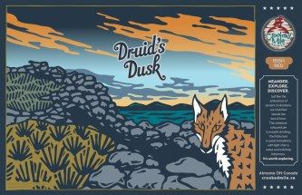 Crooked Mile Brewing Company Craft Beer Labels: Druid's Dusk. Art direction, design, and illustration for a microbrewery in Almonte, Ontario. Crooked Mile commissioned me to create illustrations for each of their flagship beers based on vistas the owners fell in love with during a walking tour in the UK. Druid's Dusk is an Irish Red and features an ancient hill fort from the iron age against a panoramic vista of distant hills and water; a furtive and mischievous fox prowls cautiously into the frame on the right.