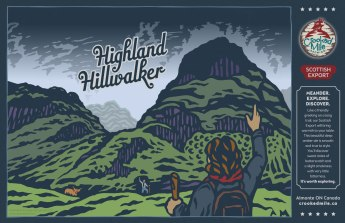 "Crooked Mile Brewing Company Craft Beer Labels: Highland Hillwalker. Art direction, design, and illustration for a microbrewery in Almonte, Ontario. Crooked Mile commissioned me to create illustrations for each of their flagship beers based on vistas the owners fell in love with during a walking tour in the UK. Highland Hillwalker is a Scottish Export featuring a vista of Glen Coe with hikers greeting each other on the trail with a wee Scottish ""coo"" looking on."