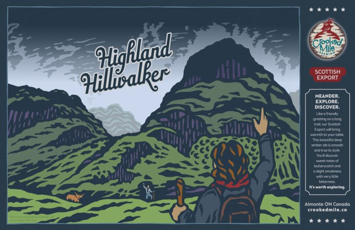 """Crooked Mile Brewing Company Craft Beer Labels: Highland Hillwalker. Art direction, design, and illustration for a microbrewery in Almonte, Ontario. Crooked Mile commissioned me to create illustrations for each of their flagship beers based on vistas the owners fell in love with during a walking tour in the UK. Highland Hillwalker is a Scottish Export featuring a vista of Glen Coe with hikers greeting each other on the trail with a wee Scottish """"coo"""" looking on."""