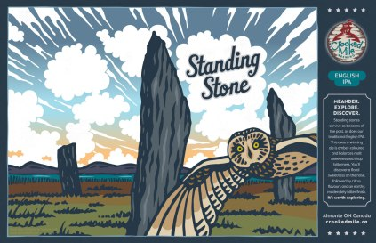 Crooked Mile Brewing Company Craft Beer Labels: Standing Stone. Art direction, design, and illustration for a microbrewery in Almonte, Ontario. Crooked Mile commissioned me to create illustrations for each of their flagship beers based on vistas the owners fell in love with during a walking tour in the UK. Standing Stone is an English IPA and features a short-eared owl swooping into the frame with a backdrop of the curious standing stones found all over Great Britain and a glorious summer sunset.