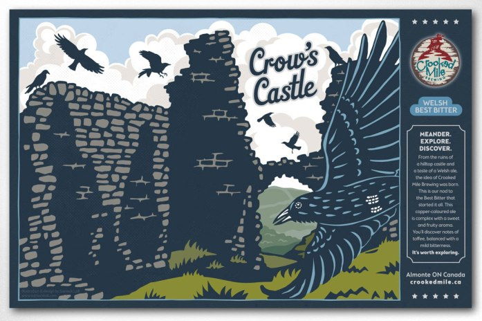 "Crooked Mile Brewing Company Craft Beer Labels: Crow's Castle. Art direction, design, and illustration for a microbrewery in Almonte, Ontario. Crooked Mile commissioned me to create illustrations for each of their flagship beers based on vistas the owners fell in love with during a walking tour in the UK. Crow's Castle is a Welsh Best Bitter featuring the ""Dinas Bran"", or Crow's Castle, sitting atop a tall hill in Wales, with the requisite murder of crows wheeling and soaring all around."