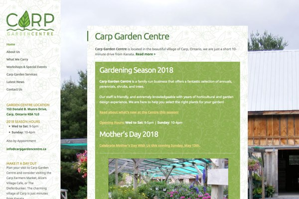 Affordable Web Design - Carp Garden Centre