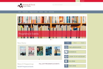 The Township of Russell Public Library: The lion's share of our websites are built on the Wordpress.com platform, with the occasional .org site and the even more occasional custom build. The Township of Russell Public Library hired us to develop a robust site on the Wordpress.org platform, and we were all very satisfied with the final product: convenient, effective, powerful, and lovely to look at! To see the full site please go to http://www.russellbiblio.com.