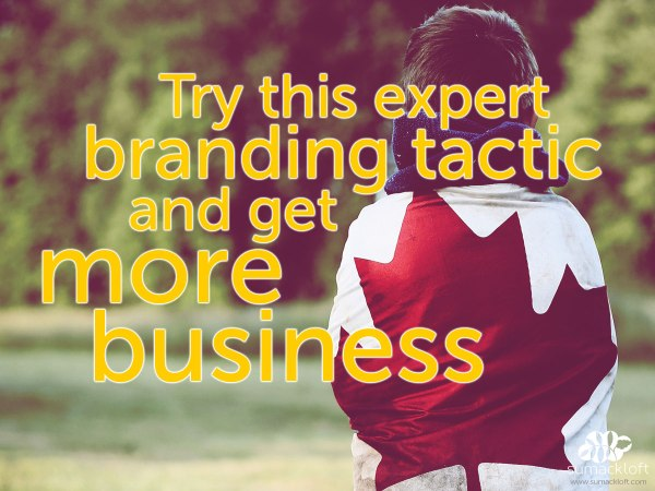 photo of boy wrapped in Canada flag with type: branding tactic - more business