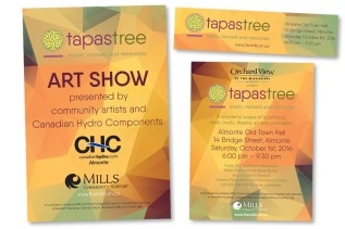 Comprehensive branding for Tapastree, a fundraising initiative for Mills Community, including logo, numerous print pieces, and Facebook graphics. The annual event is a wonderful weave of local food, drink, music, theatre, art and community.