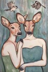 """Les Daimoiselles: 2018 16"""" x 24"""" watercolour (sold - prints available)"""