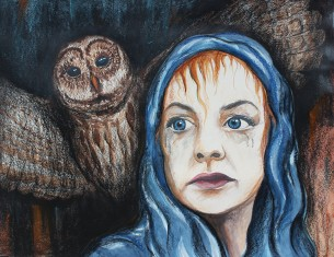 "Night Owl: 2018 28"" x 22"" watercolour, charcoal & soft pastels"