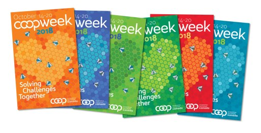 Co-op week is the opportunity for Canadian co-operative and credit union members to celebrate their achievements. A lively, engaging design with honeybees and a heart being created by the honeycomb represent human cooperation and goodwill. With six different colour ways following the brand colours at Co-op Canada, members can pick and choose their favourite, or print them all out!