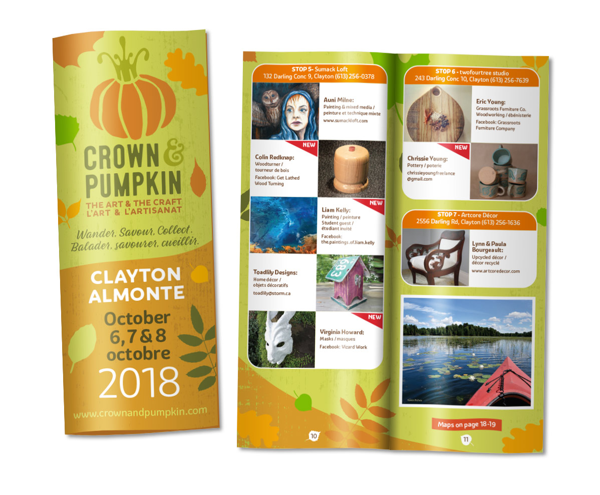 Brochure design for arts and crafts tour Ottawa Valley