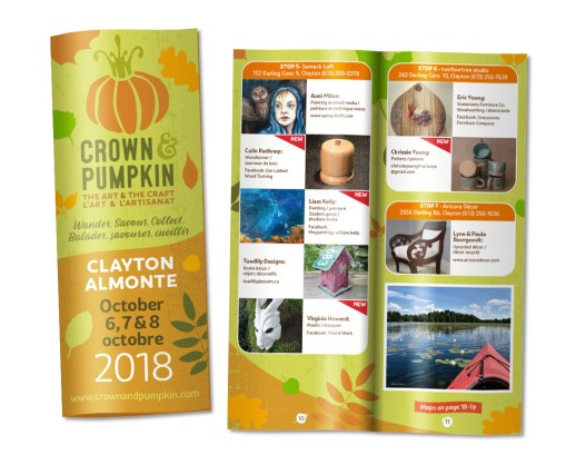 The highly successful Thanksgiving studio tour in the Almonte and Clayton area keeps expanding in scope. In 2018 Sumack Loft helped the tour organizers move to a new brochure format to make a wealth of information manageable and easy to navigate for attendees. The overall look and feel of the branding has also been updated with a cleaner, more sophisticated approach. Logo and tagline also developed by Sumack Loft.