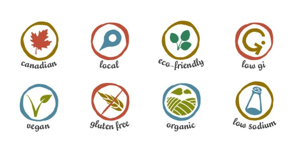 Identification system designed for local health food store to help clientele determine specific product information at a glance, including info about location, dietary needs, environmental, etc. Logo was also designed at Sumack Loft.