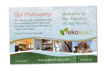 Quick reference promotional card designed for custom homebuilders to hand out at trade shows, based on brand look and feel originally developed for the website. Logo was also designed at Sumack Loft.