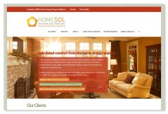 Homesol Building Solutions: This website, built for a local energy consultancy, is a good example of a highly customized site that is still based on a purchased Wordpress theme. It's a great way to conserve budget while still achieving a highly individualized visual experience, with customized graphics and buttons, and a specialized colour palette. Logo was also designed at Sumack Loft. To see the full site please go to www.homesol.ca.