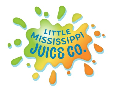 The Little Mississippi Juice Company produces fresh cold-pressed juice, an easy and effective way to get your 'five helpings per day' of fresh fruits and vegetables. The client was looking for a logo that evokes the local, organic, sustainable, and tasty nature of her business, and fell in love with this splashy design!