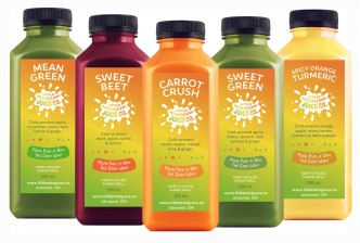 Fun labels designed for the five flagship flavours for our cold-pressed juice client. The gradient from the main logo, also designed at Sumack Loft, has been used as a background in the design, with other cheery elements to form a lively, fresh, and compelling layout.