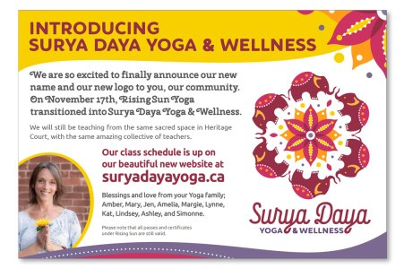 Half page newspaper advertisement designed for yoga client to announce new business name, logo and website. Branding also by Sumack Loft.