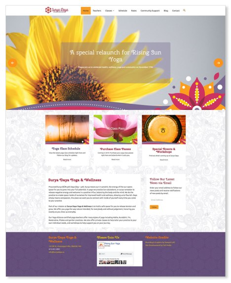 Surya Daya Yoga & Wellness is an established studio in Almonte, Ontario, taken over by a new owner in 2018 who wished to make it her own with a rebrand. Working closely with the owner, we designed a new visual identity and website which is consistent with the studio's warm, inviting, and compassionate services. To see the full site please go to: https://suryadayayoga.ca.