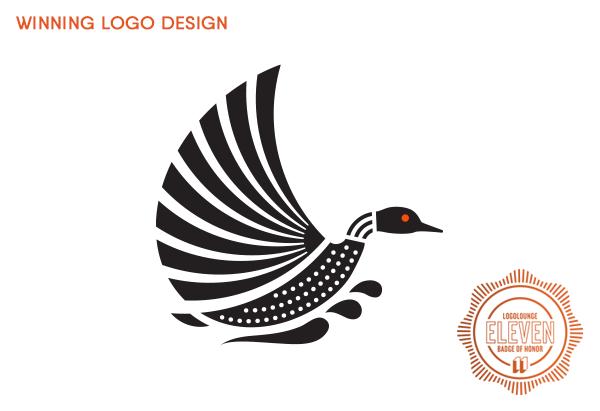 Award-winning logo of flying loon by Sumack Loft