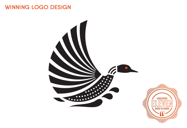 Award-winning logo of flying loon by Sumack Loft