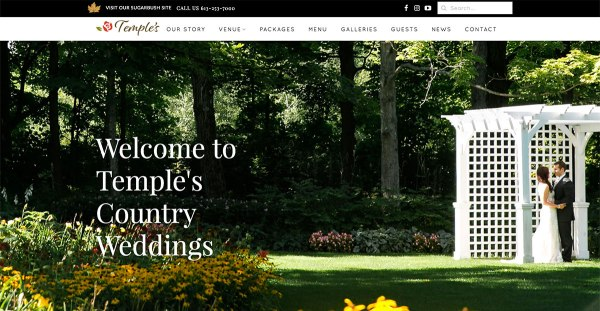 Screenshot of Temple's Country Weddings home page.